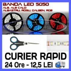 BANDA 60 LED LEDURI 5050 / METRU - ALB 6000K (ALBA), ROSU (ROSIE), ALBASTRU (ALBASTRA), GALBEN (GALBENA), RGB - IMPERMEABILA FLEXIBILA - PRET PE 10 CM - Banda LED ZDM