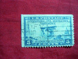 Timbru 5 centi albastru -Aviatie- Conferinta Aeronautica Internationala 1928 SUA , stamp.