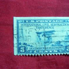 Timbru 5 centi albastru -Aviatie- Conferinta Aeronautica Internationala 1928 SUA, stamp.