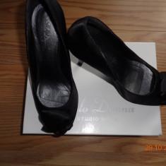 Pantofi cu toc eleganti ! - Pantof dama Benvenuti, Culoare: Negru, Marime: 38, Textil