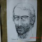 Mihu Vulcanesu (1937-1994 ) Autoportret, Portrete, Cerneala, Realism