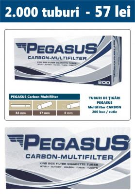 2.000 tuburi de tigari PEGASUS Multifiltru cu carbon activ pentru injectat tutun foto