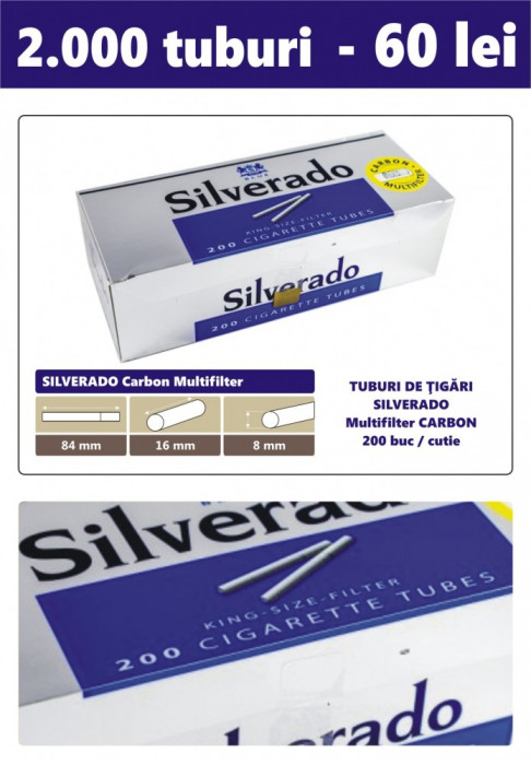 2.000 tuburi de tigari SILVERADO Multifiltru carbon activ pentru injectat tutun