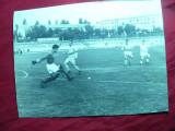Fotografie interbelica -Stadion si meci de fotbal- dim.= 19,8 x 14,8 cm