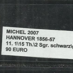 HANNOVER 1856-57 - 11, 1\15Th.\2Sgr.