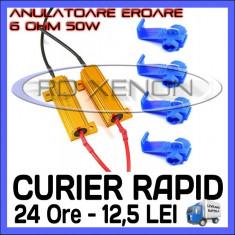ANULATOR REZISTOR - ANULATOARE REZISTORI EROARE BEC ARS CANBUS - PENTRU LED LEDURI AUTO H1, H3, H7, H11, HB3, HB4, LUMINI DE ZI (DRL) - 50W 6 Ohm BOORIN