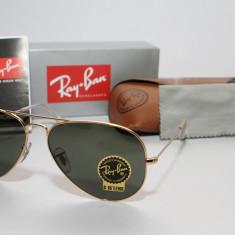 Ochelari Ray Ban Aviator RB3025 L0205 Originali - Ochelari de soare Ray Ban, Unisex, Verde, Pilot, Metal, Protectie UV 100%