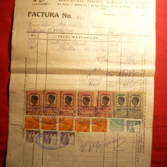 Factura Firmei Elefant-Manufactura, panzarie..., cu 17 timbre fiscale, 1942 - Hartie cu Antet