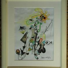 tablou modern abstract tehnica mixta acuarela si grafica semnat original UNICAT