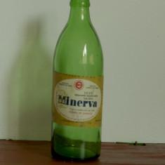Sticla  de bere din perioada comunista - bere Minerva - eticheta originala fabrica de bere Craiova  !!!