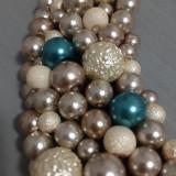 Colier perle sticla turcoaz, ivory, crem-aurii