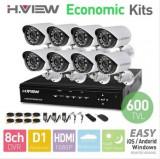 Sistem de Supraveghere Video cu 8 camere de 600 linii Day&Night