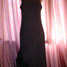 Rochie neagra cu buline albe - Rochie de zi, Marime: M/L, M, 3/4, Cu bretele, Vascoza
