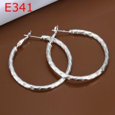 Cercei argint 925, model fin cu striatii + cutie cadou; 3.2 cm diametru