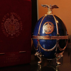 Russian Art's Applied Craft LTD VODKA. IMPERIAL COLLECTION Faberge Egg. Sapphire Edition