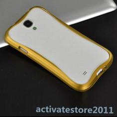 Husa bumper aluminiu Samsung Galaxy S4 i9500 + folie ecran - Bumper Telefon, Auriu