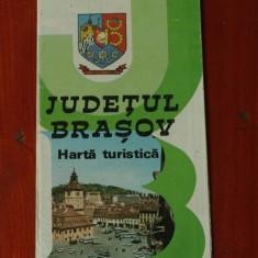 Harta turistica - Judetul Brasov - perioada comunista - anii 80 !!!