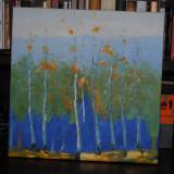 Tablou Padure de mesteceni - ulei pe panza, Peisaje, Impresionism