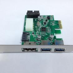 Adaptor Power Over eSATA eSATAp II si USB 3.0 la PCI-E Card PCI Express - Adaptor interfata PC