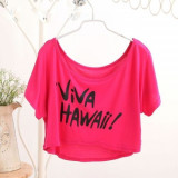 Lenjerie Lady Lust Sexy Bluza Bluzita Scurta Outfit Viva Hawaii Roz, M, Maneca scurta