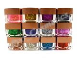 Set 12 Geluri UV color Mix de Sclipici fin si Paiete EzFlow, gel uv, Gel colorat