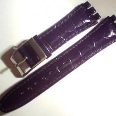 Curea swatch piele neagra si maro de 19 mm, latime. - Curea ceas piele
