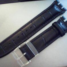 Curea swatch piele neagra si maro de 21 mm latime, dar si alte latimi. - Curea ceas piele