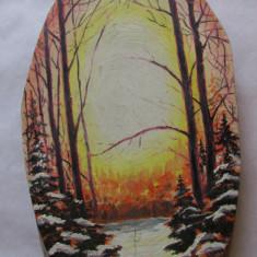 2-PEISAJ DE IARNA-TABLOU(aplica)-ulei pe lemn