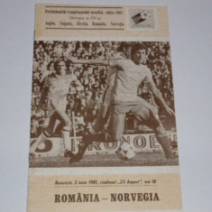 Program meci fotbal ROMANIA - NORVEGIA 03.06.1981