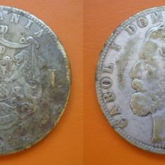 5 lei 1880 Romania FALS de Epoca foarte rar Kullrich pe cerc - Moneda Romania