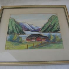 Frumos pastel, peisaj lac cu munte semnat indescifrabil - Tablou autor neidentificat, Realism
