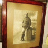Foto mare anul 1919- militar in uniforma – semnat Marechal - Fotografie veche
