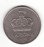 Norvegia 1 coroana 1977, Olav V - KM# 419, Europa