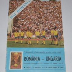 Program meci fotbal ROMANIA - UNGARIA 23.09.1981