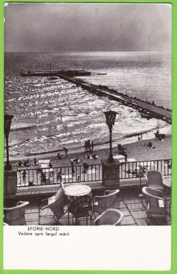 RPR Eforie Nord plaja,marea,digul,ilustrata circulata 1962,stampila si timbrul in perfecta stare pe verso foto