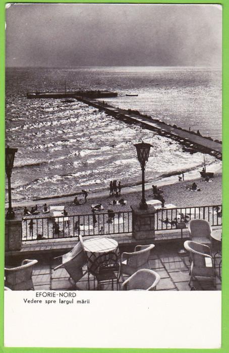 RPR Eforie Nord plaja,marea,digul,ilustrata circulata 1962,stampila si timbrul in perfecta stare pe verso