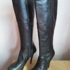Cizme piele neagra naturala cu toc (13cm) si platforma, Italia nr. 38 - Cizma dama, Piele naturala, Negru