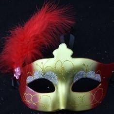 Masca Carnaval Foreplay Adult Venetiana Pene Yellow Red Stralucitoare Halloween, Marime universala, Multicolor