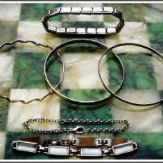 AuX: LOT format din 6 BRATARI de dama/unisex, metalice (inox, aluminiu), fixe, reglabile si cu inchizatoare! - Bratara inox