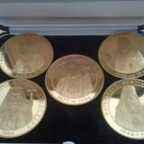 Lot 5 Medalii Patriarhii Romaniei (tombac aurit) 372 grame + cutia cu stampila Binecuvantarea Patriarhului Daniel + taxele postale gratuite = 500 roni - Medalii Romania
