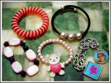 Cumpara ieftin AuX: LOT format din 5 BRATARI diferite pentru fetite: cu margele, ursulet, arc, medalioane si din piele!