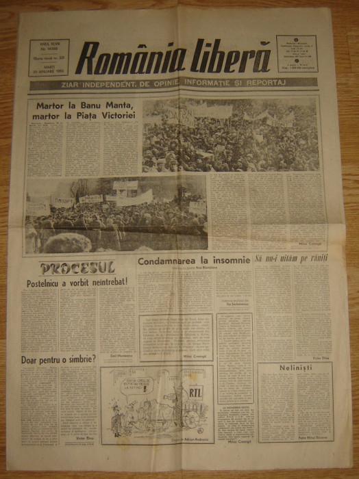 Ziar , Romania Libera   - 30 Ianuarie  1990