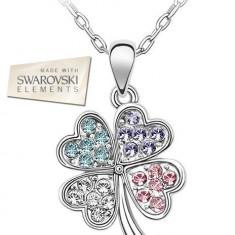 Set Trifoi cu 4 foi, cu Cristale tip Swarovski Elements (COD:76) - Set bijuterii placate cu aur Energie