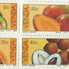 VENDA 1983 - FRUCTE 4 VALORI, NEOBLITERATE - AS 117