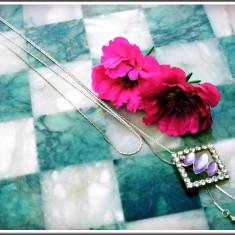 AuX: LANTISOR pentru fete confectionat din metal, medalionul cu pietricele are un sistem de reglaj ingenios! - Lantisor inox, Femei