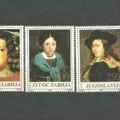IUGOSLAVIA 1987 - PICTURA RUBENS, RAFAEL, VELAZQUEZ , serie MNH K132