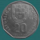 PORTUGALIA KM#634.1 20 Escudos 1988