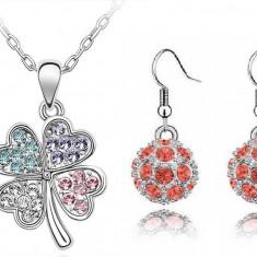 Set bijuterii -Trifoi cu 4 foi-Cristale Cubic Zirconia, placat cu aur alb 18 k - Set bijuterii placate cu aur Energie