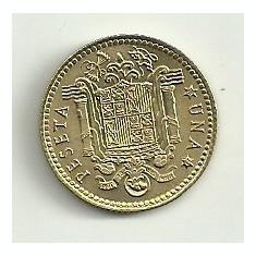 SPANIA 1 PESETA 1975 [2] livrare in cartonas, XF, Europa, Bronz-Aluminiu