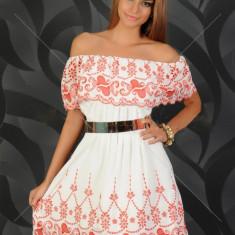 LaDonna Sunny Fame Red Dress (Cadou Craciun), Culoare: Alb, Marime: 36, Midi, Fara bretele